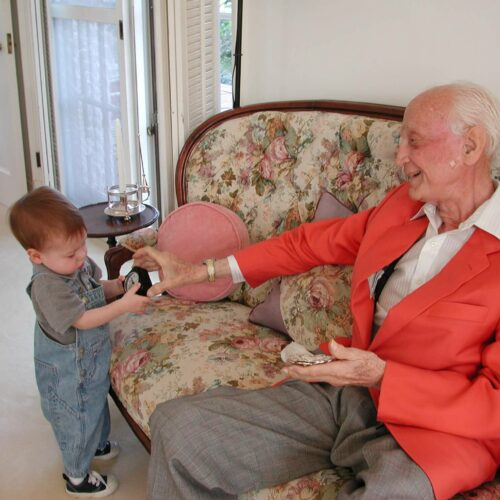Sir John Templeton with great-grandson John Templeton Dill, 2004