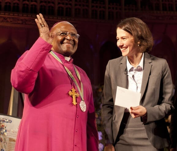 Archbishop Emeritus Desmond Tutu receives the 2013 Templeton Prize from Heather Templeton Dill, 2013